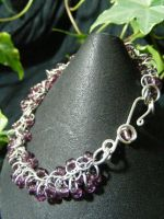 Purple Shaggy Loops Bracelet With Fancy Clasp by BacktoEarthCreations