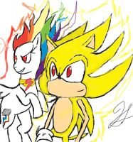 Super sonic and Super rainbow dash by hec16