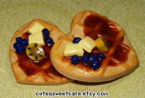 Heart Blueberry Waffle Charm by pinknikki