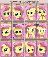 Fluttershy 12 Expressions by Solar-Slash