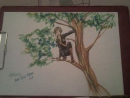 Katniss on the tree by YuiAino