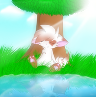 Chilling by the tree by Sweirde