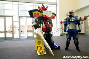 Mighty Morphin Megazord and Blue Senturion by d-slim