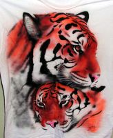Tigers on a shirt by superchickenn123