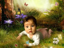 Baby in the fairy forest by Lada-KR
