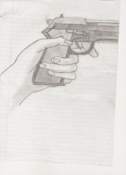 Gun Drawing by Flubbedpig