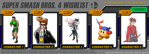 My Super Smash Bros 4 Character Wishlist by Tinyhammer