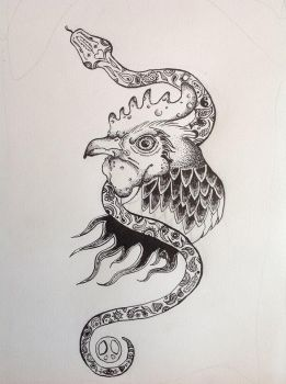 WIP: Rooster and Snake by Nien-Ja