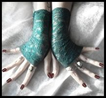 Teal Lace Fingerless Gloves by ZenAndCoffee