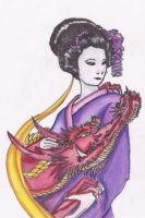 Geisha and Dragon by YukiBean