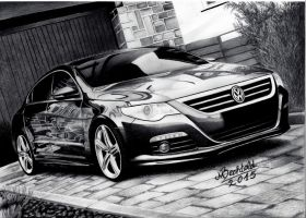 VW Passat CC Hyper Realistic Pencil Drawing Stance by MaxBechtold