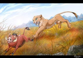 Pumba and Nala playing by OmegaLioness