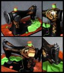Vintage Sewing Machine Cake  - details by CakeUpStudio