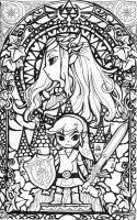 Zelda BlackWhite Glass Window by aiduqui