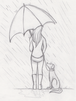 The umbrella and the dog by Foreveryoung8