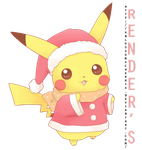 Pikachu'Christmas'Cute'Render by xBLossomxCherryx
