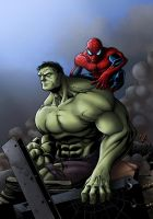 Hulk and Spidey by TPollockJR