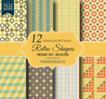 Geometric Retro Repeating Patterns by fiftyfivepixels