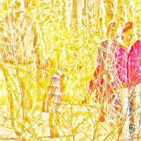 People in the woods on a winter day by wdlougee