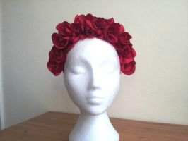 Red Queen Floral Rose Headdress by paradiseshoretwins