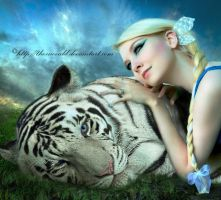 White tiger and the woman by thornevald