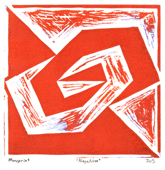 Negatives Monoprint: Red by mynameisneo