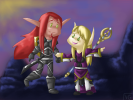WoW: Jere and Cael chibis by Achrius