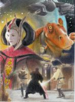 Star Wars The Phantom Menace Sketch Card by TRENTBRUCE