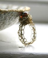 Mixed Metal Crochet Ring by WrappedbyDesign