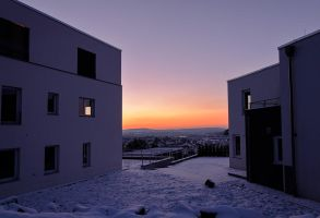 Dusk and two houses in Winter by joachim-hagen