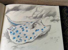 daily drawing challenge day 35: Blue dot ray by Chayt