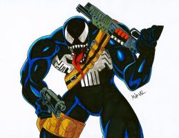 Symbiote Punisher by MikeES