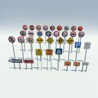 Low Poly Road Signs Pack by blenderednelb