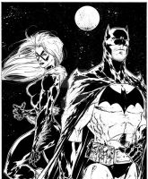 Batman/Black Cat commission by adelsocorona