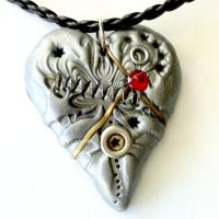 Steampunk Clay Heart by AuntMatilda