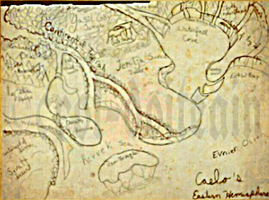 Map and legend of Eastern Hemisphere of Caelo by The-Chronicler-Croi