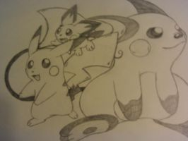 pichu pikachu raichu drawing by lossetta932