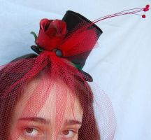 Tiny Top Hat: The Romantic With Full Red Veil by TinyTopHats