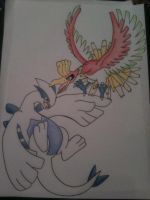 Ho-oh and Lugia Dream World- Drawing by sazmullium
