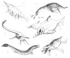 marine reptiles sketches by Apsaravis
