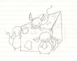 Little Mice Eating Cheese by CanadianGothStalker