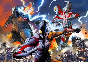ULTRAMAN VS GODZILLA by deemonproductions