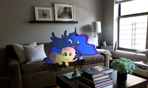 Luna and Fluttershy on sofa by Pangbot
