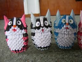 3d origami cats by juls2