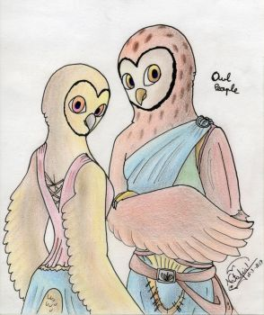 Owl people by Dino-drawer