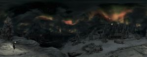Beautiful Skyrim night sky panorama by Mallony
