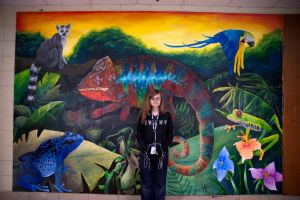 Mural Piece 10- Me in front of my mural. by Otterrific