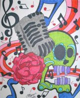 50's Microphone Skull by ToniTiger415