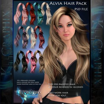 Alvia - Painted Instant PSD Hair stock - add on by MakeMeMagical
