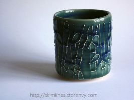 Blue over green Bamboo Forest tea cup by skimlines